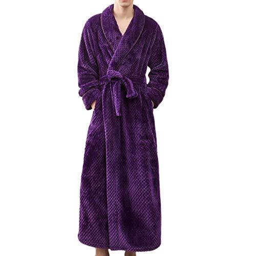 YANGPP Hombres Mujeres Invierno Felpa Chal Albornoz Talla Grande Alargar Espesar Ropa para El Hogar Pijamas para Mujer Albornoz Albornoz, Hombres Púrpuras, M