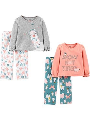 Simple Joys by Carter's 4-Piece Pajama Set (Poly Top & Fleece Bottom) Conjunto de Pijama, Animal, 2 años, Pack de 4