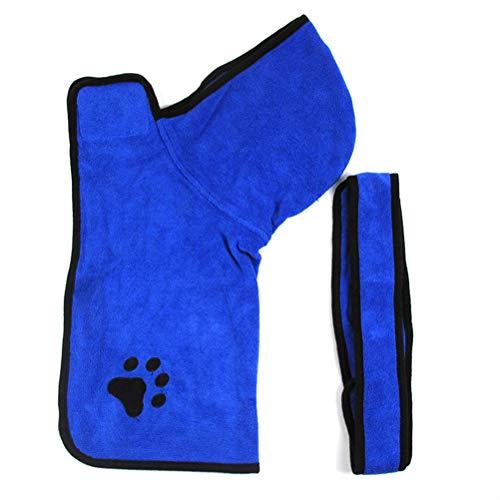 ZZM Albornoz para perro con capucha con correa ajustable, bata de microfibra para mascotas, toalla de baño para mascotas de secado rápido, absorbente de humedad, albornoz ultrasuave