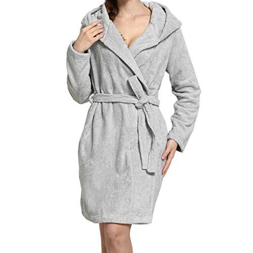 LITHAPP City Comfort SeñOras Robe Luxury Terry Toweling AlgodóN Bata Albornoz Mujeres Altamente Absorbente Mujeres con Capucha Y Shawl Towel BañO Abrigo,Grey-L