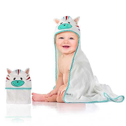 Ecomky Toalla Bebé con Capucha Capa Baño Infantil Poncho 100% Algodón Diseñado en España Regalo Recién Nacido Niñas Niños de 1,2,3,4 y 5 años Unisex 90X90 cm Suave Absorbente 0-5 Años Cebra