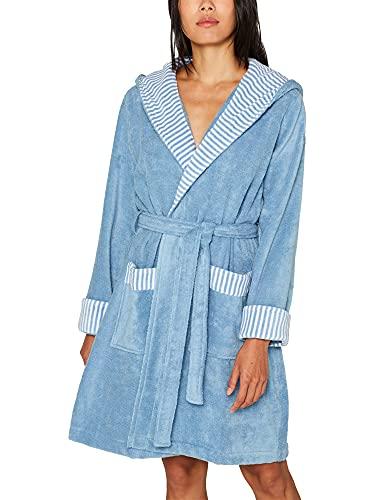 Esprit - Albornoz para hombre con diseño de rayas (100% algodón), 100 % algodón, azul celeste, medium