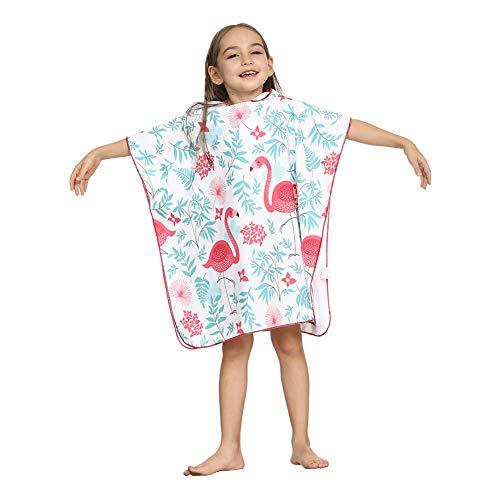 ED-Lumos Toalla de baño con Capucha para niño niña Poncho Playa Infantil Microfibra Albornoz 4-7 años Flamenco