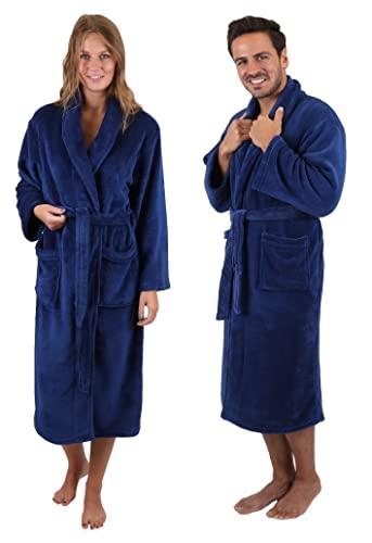 Betz Albornoz Bata para Mujeres y Hombres de Microfibra Tallas S-XXL Tamaño S - Azul Marino