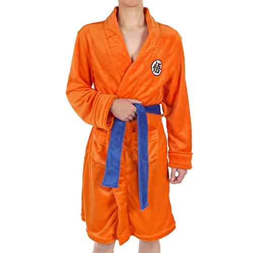 EDMKO Noche Robe para Niños Adultos Dragon Ball Son Goku Cosplay Bata De Felpa Bata De Baño con Cinturón Suave Agradable Albornoz Ropa De Dormir Grueso Flannel Fleece,130