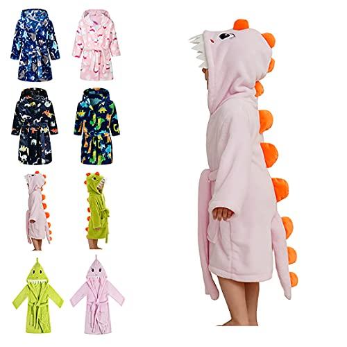 Lodunsyr Albornoces Niña Niño Rosa Dinosaurio Pijamas y Batas Infantil Textiles de Baño Muchacha Albornoz con Capucha Batas Regalos Suave Ropa de Dormir 2-9 Años