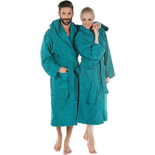 CelinaTex Albornoz con cuello o capucha M, turquesa, algodón, para sauna, hombre y mujer, de rizo, bata