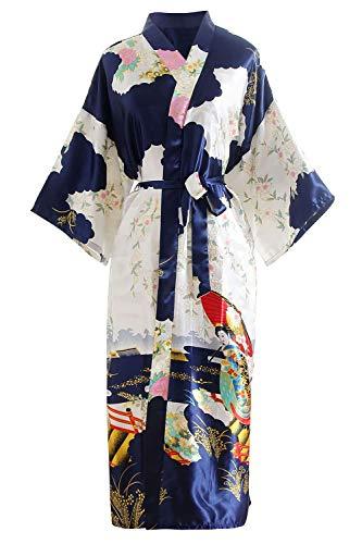YAOMEI Novia Mujer Vestido Kimono Satén, Camisón para Mujer, Sedoso Flores de Geisha Robe Albornoz Dama de Honor Ropa de Dormir Pijama, S-2XL (Busto: 126cm, de S a 2XL, Azul)