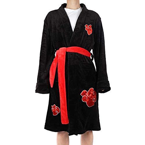 Saicowordist Naruto Akatsuki Itachi Uchiha Kimono Albornoz para hombres Ropa de dormir Anime Cosplay Franela Bata Pijamas