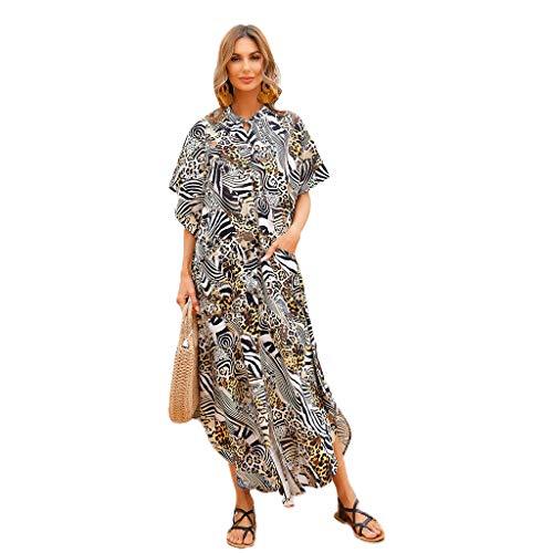 Mengmengda Vestido de playa con estampado de piel de tigre de cebra bohemio, con botones, suelto, protector solar, con bolsillos