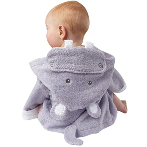 Bebé albornoz con capucha, diseño de Stitch camisón minuya Niñas Niños Cartoon Homewear baño suave pijama morado Hippo Talla:mediano