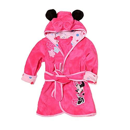 XMYNB Toalla baño para niños Niños Ropa De Dibujos Animados Niño Bata Bebé Niña Primavera Tigre Impresión Ropa Niño Manga Larga con Capucha Chico Baño Toalla De Baño-Pink Minnie Mouse,3T