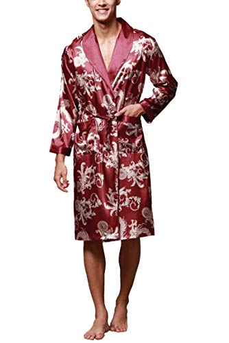 Westkun Kimono Japones Hombre Albornoz Bata de Floral Satén Yukata Vestido de los Estilo Casa Largo de la Luz Pijama Lujoso Lencería Suave Comodo y Agradable(Rojo,L)