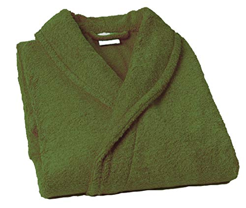 Lasa Pure Albornoz con Cuello Tipo Smoking, algodón 100%, Caqui, XL