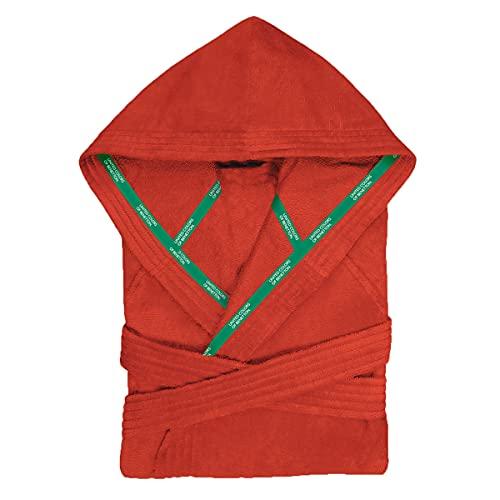 UNITED COLORS OF BENETTON.- Albornoz de Algodón con Capucha, para Mujer y Hombre, Tipo Poncho de Color Rojo, Talla L/XL