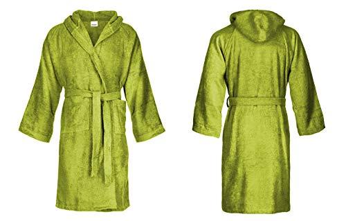 Bassetti - Albornoz con capucha para hombre/mujer, disponible en varias tallas y colores, 100% algodón Verde Bambú XL