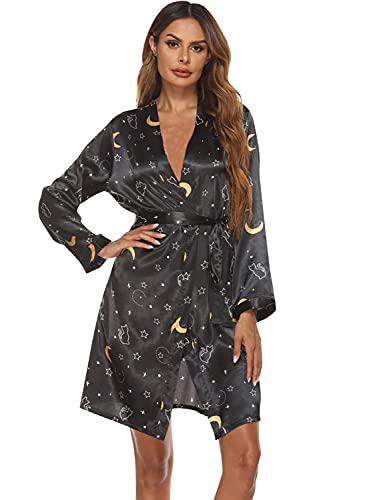 FyoFya Kimono Albornoz para Mujer Batas y kimonos Satín flores Camisón Robe Albornoz Dama de honor Ropa de dormir Pijama, Para fiesta Spa Hotel Sauna con Cinturón (Negro, M, m)