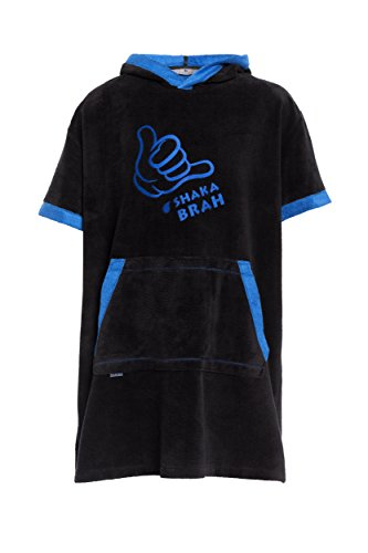 Revise Poncho de surf con capucha – albornoz – toalla de baño – poncho – Mujer Hombre Niños – Fibra de bambú, negro/azul, small