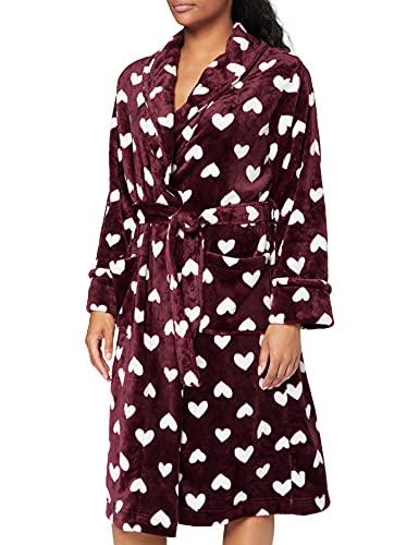 Marca Amazon - IRIS & LILLY Albornoz de Forro Polar para Mujer, Rojo (Tawny Port), M, Label: M