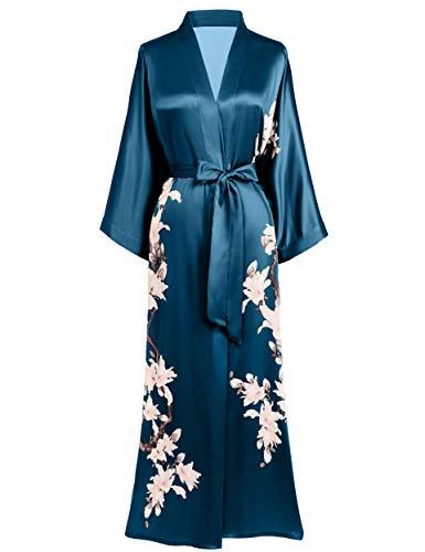 BABEYOND Kimono Albornoz estampado floral Kimono Albornoz largo de satén Kimono para mujer, boda, pijamas, fiesta, 135 cm