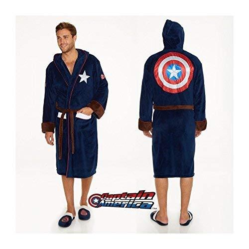 Groovy Marvel Capitán América Albornoz, poliéster, Azul, para Hombre