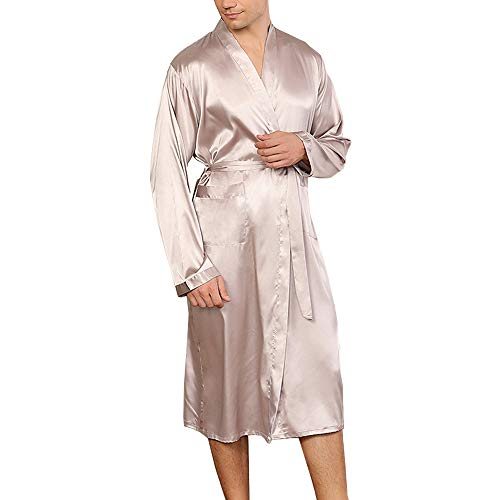nuoshang - Albornoz kimono de seda de manga larga para hombre con bolsillos - Plateado - Small