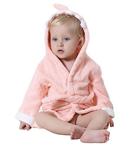 STOFIA Albornoz Bebes 100% Algodon - Toalla Bebe Recien Nacido 1 - 12 Meses Bata Casa Infantil Poncho Capa Y Regalos Para Niños (Tiburón Rosa)