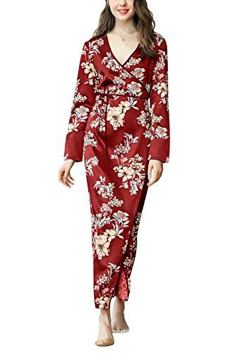Dolamen Mujer Vestido Kimono Satén, Camisón para Mujer, Flores Florales Robe Albornoz Dama de Honor Ropa de Dormir Pijama, Largo 2018 Busto 100 cm (Busto Larghezza 100 cm, Rojo)