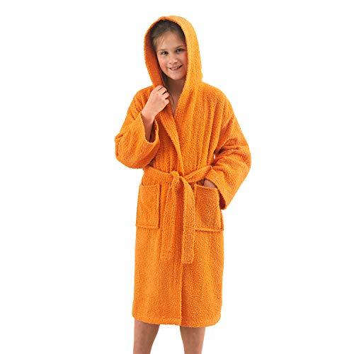 NuvolaNera Albornoz para niños de 6 a 16 años unisex de algodón 100 % con certificado Oeko-Tex®, para niños y niñas, con capucha, bolsillos y cinturón, de 14 a 16 años, color naranja