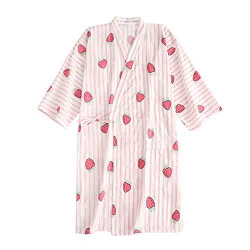 FEOYA Albornoz Algodón Mujer Verano Kimono Estampado Yukata Listado Japonés para Sauna Ropa de Dormir Vestido de Noche Color Rosa Fresa Talla M