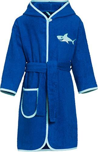 Playshoes Kinder Frottee-Bademantel Hai mit Kapuze, Traje de baño Niñas, Azul (blau), 110 (Talla del fabricante: 110/116)