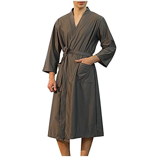 Xisimei Albornoz de viaje de microfibra, tallas M - 3XL, para hombre y mujer, tallas grandes, gris, M
