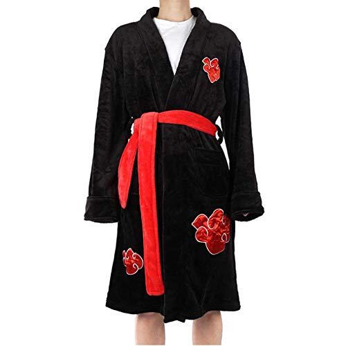 JINGHE Naruto Akatsuki Itachi Uchiha Kimono Albornoz, Pijama De Disfraz De Cosplay De Anime, Ropa De Dormir De Cuello Chal De Franela Cálida De Invierno Para Mujer