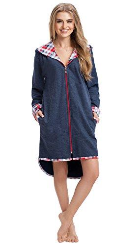 LEVERIE Bata de baño para mujer, con capucha cómoda Variante 1 azul oscuro. L