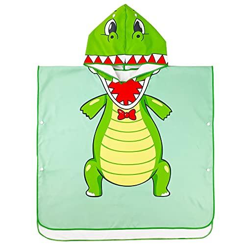 Albornoz con Capucha para Niños, Toallas de Baño para Niños y Niñas, Toalla de Baño Algodón Absorbente Toallas para Bañera Playa Ropa de Dormir Mantas de Natación, Dinosaurio Verde