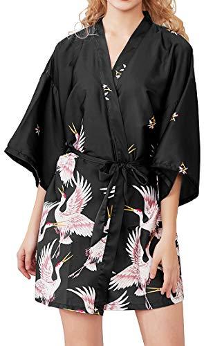Chaos World Vestido para Mujer Kimono Corto Pijama Bata Satén Seda de Hielo Bata Albornoz (Grulla Negro, X-Large)