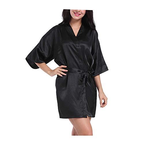 Morbuy Lencería Kimono Batas de casa con Escote de Seda Satén Camisón Ropa de Dormir Cama Albornoz Dama,1Pcs (M, Negro)