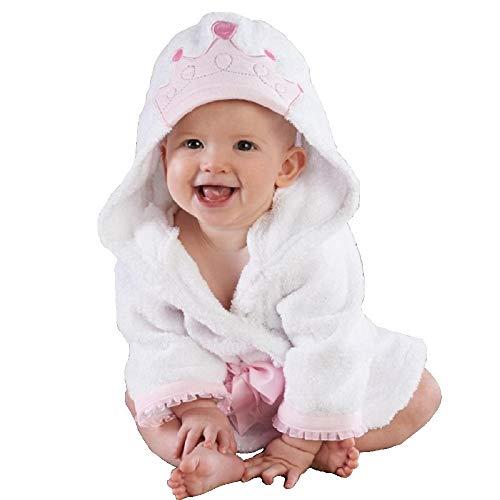 Hooyi Baby Little Princess Crown Towel Albornoz con capucha para spa (blanco, S (90 cm)