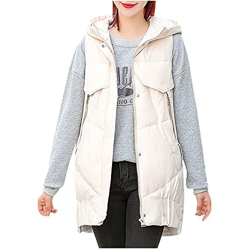 pamkyaemi Chaleco de plumón para mujer, de algodón, sin mangas, largo chaleco deportivo con capucha, chaqueta acolchada de invierno, con bolsillos, chaleco largo acolchado, Blanco, L