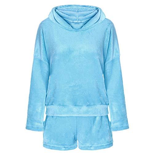 Juego de 2 pijamas de forro polar para mujer, con capucha, para niñas, ropa de dormir suave, albornoz, azul celeste, XL