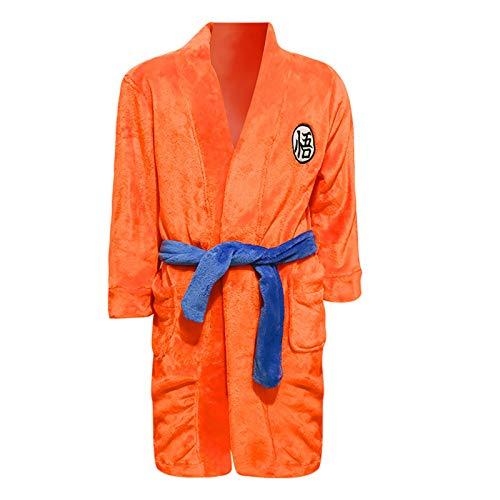 QSCVG Son Goku Cosplaaay Traje De Franela De Halloween De Dibujos Animados Pijamas Hombres Y Las Mujeres del Vestido De Noche De Cosplay Albornoz Yellow-Small