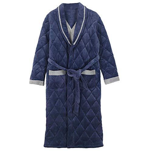 HUAHUA HOMEWEAR Los hombres de terciopelo de coral camisón de algodón acolchado de invierno pijamas hombres del invierno engrosamiento Plus Long, además de terciopelo y el algodón Homewear Albornoz, X