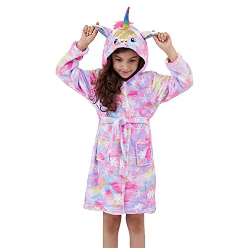 Ancokig Suave Unicornio Ropa Albornoz con Capucha Dormir - Regalos de Unicornio para Niñas (Copo de nieve rosa púrpura, 5 edad)