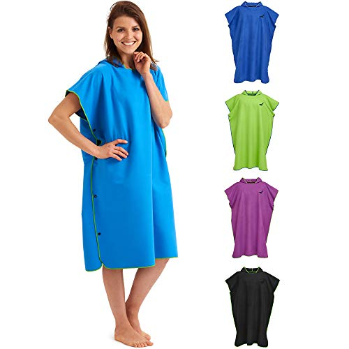 Fit-Flip Poncho de Surf – Ligero y Compacto – Toalla de Poncho para Adultos – Poncho Playa, Poncho de Microfibra para Hombres y Mujeres – Albornoz Natacion – Color: Azul-Verde | Tamaño: L
