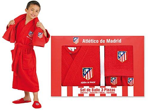Atlético de Madrid Set de Regalo Oficial - Albornoz + Zapatillas + Toalla. Talla 12 a 16 años, Rojo