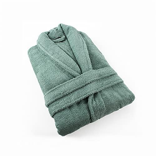 PimpamTex – Albornoz Unisex 100% Algodón con Cuello Tipo Smoking para Hombre y Mujer - (Talla S, Verde)