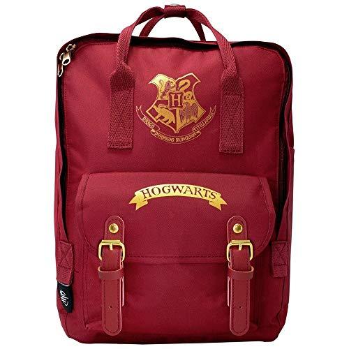 Harry Potter Hogwarts - Mochila escolar unisex para niños y niñas, mochila de lona para acampar, mochila espaciosa para fiestas de pijamas, para portátil, Burgundy, Talla única, informal