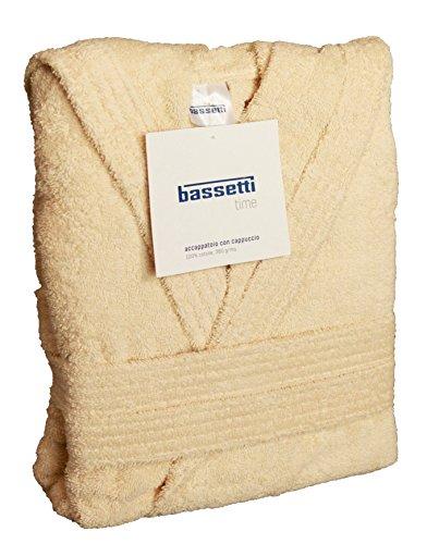 Bassetti Time - Albornoz con capucha y bolsillos de felpa de algodón 100 %, beige, Tg.L