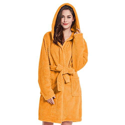 DecoKing Albornoz XL Corto Mujer Hombre Unisex Capucha Bata Microfibra Suave Agradable Ligero Fleece Naranja Sleepyhead