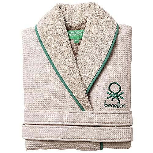 UNITED COLORS OF BENETTON. Albornoz de Algodón para Mujer y Hombre con Cierre de Cordón - Color Beige y Verde, Talla M/L